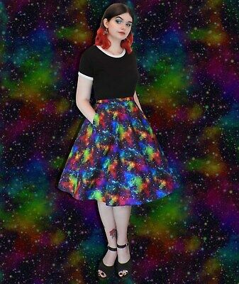 £22 • Buy Galaxy Celestial Space Print - Full Skirt With Pockets - Elastic And Zip Back