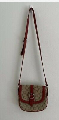 AU33 • Buy Oroton Cross Body Bag Red Beige Logo Leather Signature Print