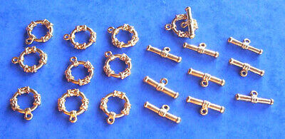 £3.95 • Buy 10 Gold Plated Patterned T Bar Or Toggle Clasps - Jewellery Findings