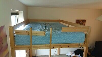 £125 • Buy Loft Bunkbed Double 4ft 6 Solid Pine High Sleeper Bunk Bed With Mattress