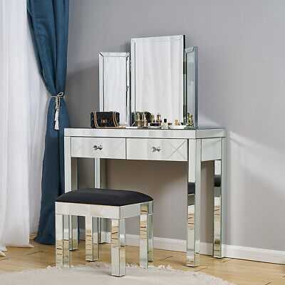 £59.99 • Buy Glass Dressing Table Set  Mirrored Make-up Desk Bedroom Console Stool Mirror