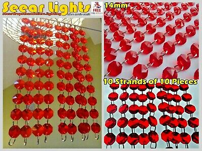 £23.99 • Buy 100 CHANDELIER RED GLASS 14mm CRYSTALS 2M GARLAND VINTAGE WEDDING DROPLETS BEADS