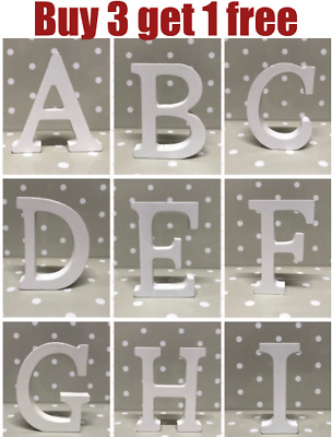 £2 • Buy White Wooden Letters Free Standing 8cm Tall 1.2cm Thick Words Names Decorative