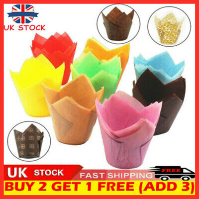 £3.71 • Buy 100Pcs Large Tulip Muffin Cases Cupcake/muffin Wraps Multiple Colours Wrappers`