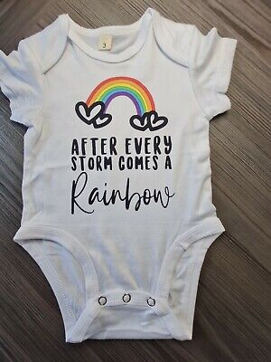 £5 • Buy After Every Storm Comes A Rainbow Baby Vest IVF IUI 0-3 Months