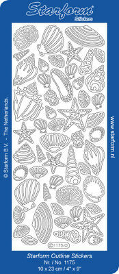 £1.95 • Buy Sea Shells Star Fish Peel Off Outline Sticker Card Making Craft Hobby - 1175