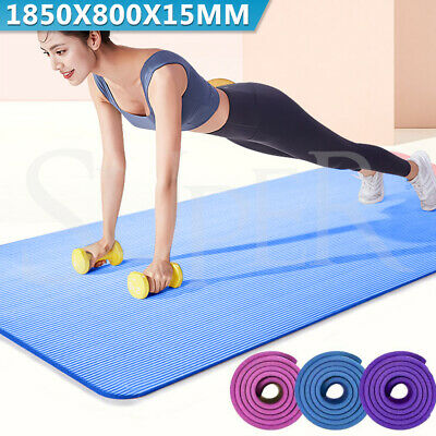 AU24.95 • Buy Yoga Mat Pad Durable NBR Nonslip Exercise Fitness Pilate Gym Extra Large 15mm