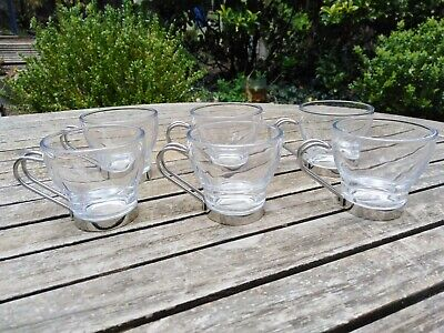 £15 • Buy Vitrosax Italy Coffee Expresso Cups Stainless Steel Glass X6 Set