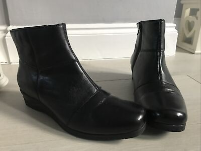 Pavers Black Leather Low Wedge Ankle Boots Size 5 • 19.99£