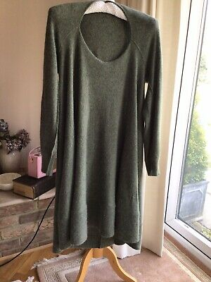 BRORA Cashmere Dress Sage Green Size 14-16 • 52£
