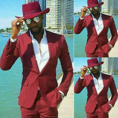 $ CDN48.39 • Buy Mens Wine Red Party Suit Tailored Fit Wedding Groom Formal Tuxedos Pants Blazer