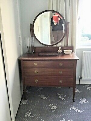 £30 • Buy Antique Edwardian Inlaid Mahogany Dressing Table With 3 Drawers And Mirror
