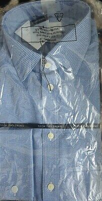 £17 • Buy BNIB Moss 1851 Blue Dogtooth Double Cuff Tailored Fit Shirt (16 )