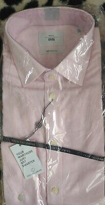 £15 • Buy BNIB Moss 1851 Pink Dogtooth Double Cuff Tailored Fit Shirt (16 )