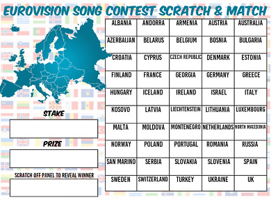 £4.99 • Buy Guess The EUROVISION SONG CONTEST Scratchcard European Flag Name Game Party Name