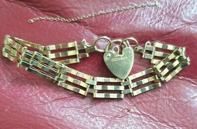 £160 • Buy 9ct Gold Three Bar Gate Bracelet With Heart. 8.2g