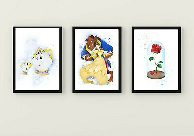 £12 • Buy Beauty And The Beast Princess Belle Mrs Potts Chip Red Rose Wall Art Prints