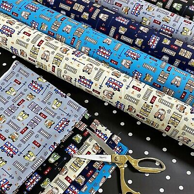 £5.99 • Buy London Theme Cotton Printed Fabric 45  Wide Craft Poplin Quilting Dressing D#43