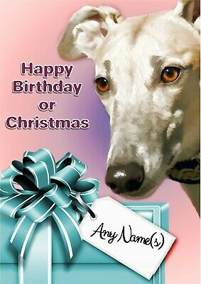 £3.99 • Buy Personalise Fawn Greyhound Lurcher Whippet Birthday Or Christmas Card + Insert