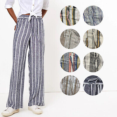 £13.95 • Buy Ex M&S Striped Linen Trousers 9 Colours Pull On Elasticated Waist