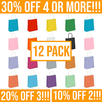 £5.59 • Buy 12 Coloured Paper Bags With Handles For Gift Bag, Kids Party & Gifts - Multipack