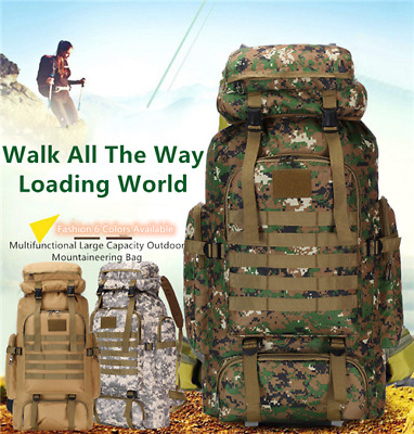 AU48.16 • Buy 80L Military Tactical Army Backpack Rucksack Camping Hiking Trekking Outdoor Bag