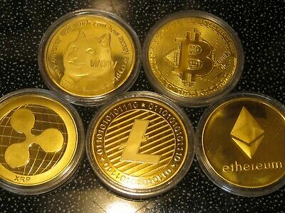 AU45.08 • Buy 5 Gold Coins Dogecoin Bitcoin Ethereum Ripple Litecoin Doge Crypto Currency USA