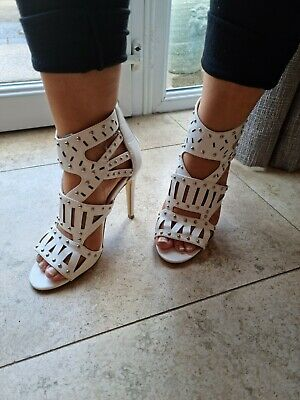 £7.99 • Buy Size 5 Shoes White High Heel Sandals Missguided Cage Heels Studded