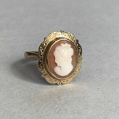 £89 • Buy Vintage 9ct Gold Cameo Ring Carved Shell Size L Hallmarked 1962