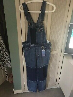 £10 • Buy Pull And & Bear Patchwork Denim Dungarees Size S UK 8 To 10