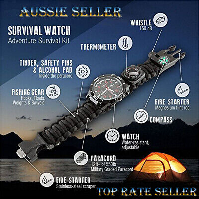 AU39.99 • Buy 16 In 1 Camping Hiking Gear Survival Watch Compass Flint Fire Thermometer A Must