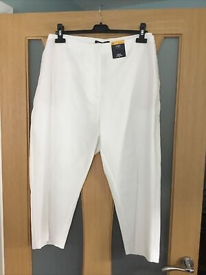 £12.99 • Buy Marks And Spencer 24 Ivory Slim Cropped Elasticated Trousers With Stretch Bnwt