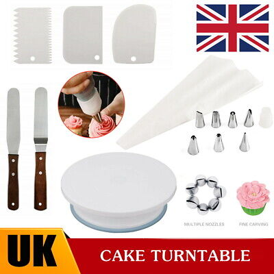 £8.99 • Buy Cake Decorating Tool Set Turntable Nozzles Smoother Spatula Rotating Stand Kits