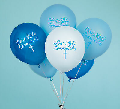 8 X Blue Boys 1st Holy Communion Balloons Party Decorations Blue & White • 2.99£