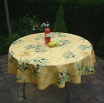 £16.67 • Buy Tablecloth Provence 160 CM Round Olives Yellow France Non-Iron Easy