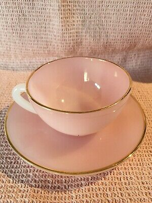 Arcopal Harlequin Coffee Cup And Saucer Pink With Gold Rims Superb Condition • 15£