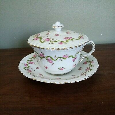 £8.95 • Buy Vintage CROWN Staffordshire, Pink Roses, Cup, Saucer & Cover Or Lid 73170