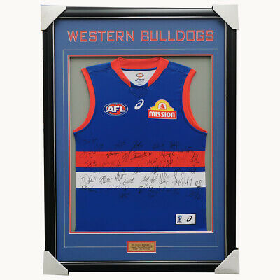AU899 • Buy Western Bulldogs Football Club 2021 AFL Official Team Signed Guernsey Framed