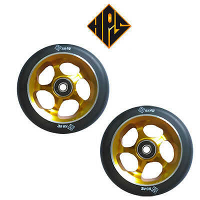 £25.99 • Buy 2X PRO STUNT SCOOTER GOLD SOLID METAL CORE WHEELS 110mm 88A ABEC 11 BEARINGS 9