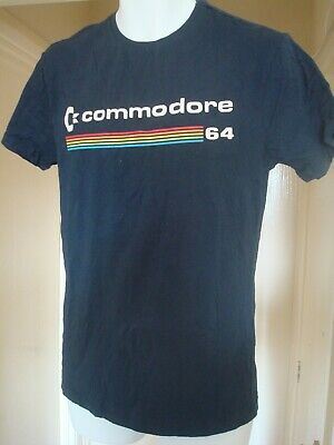 £10.39 • Buy Commodore 64 Retro T-shirt Computer Vintage Gaming Logo Navy Blue Small Size.