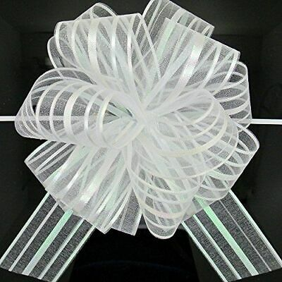 Gift Wrapping CAR Decore 50mm Strip White Organza Butterfly/ Flower Pull Bows • 2.40£