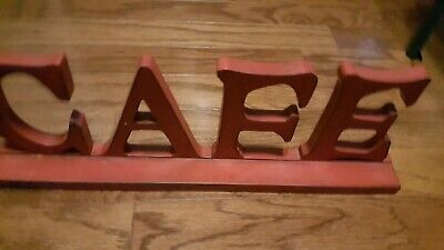 Red CAFE Kitchen Sign Standing Or Hanging Wood Plaque • 2.85£