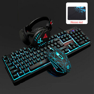 AU119.78 • Buy Gaming Keyboard And Mouse Combo With Headset And MousePad, RGB 3 Colors Keyboard