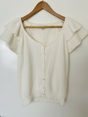 AU15 • Buy Forever New White Cream Knit Top Blouse Vest Cardigan Sz 8 10 S Must Review