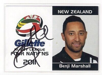 AU35 • Buy Signed Benji Marshall New Zealand Kiwis 2011 Four 4 Nations Nrl Card Rare Tigers