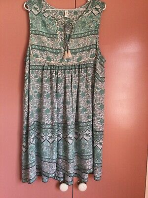 AU43 • Buy Spell Size XL Green Multicoloured Sleeveless Tassled Dress
