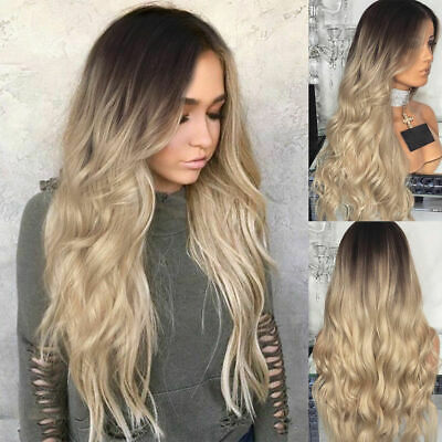 £11.55 • Buy Womens Ladies Real Ombre Blonde Long Curly Wigs Natural Wavy Hair Cosplay Wig *A