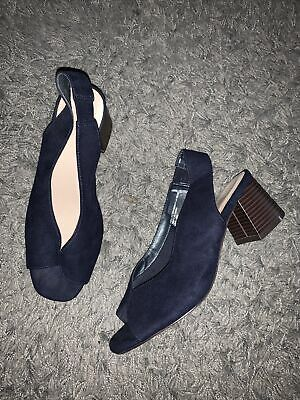 Evans Blue Slingback Shoes 6eeee Extra Wide Fit New • 10£