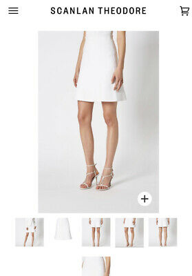 AU299.99 • Buy SCANLAN THEODORE CREPE KNIT SHORT A-LINE SKIRT WHITE Size XS