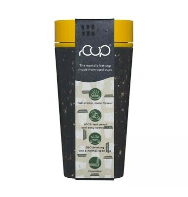 £10 • Buy RCUP Recycled Reusable Coffee Cup 12oz/340ml Black/Yellow